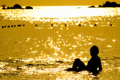 Silhouette at Sunset time, Lipe island Royalty Free Stock Image
