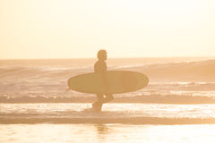 Silhouette of surfer on beach with surfboard. Male surfer on the beach with the surfboard in sunset.  Vertical composition Stock Photo