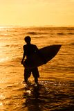 Surfer in sea at sunset Stock Photo