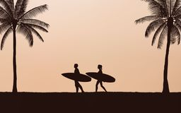 Silhouette couple surfer carrying surfboard on beach under sunset sky background in flat icon design. Silhouette surfer carrying surfboard on beach under sunset stock illustration