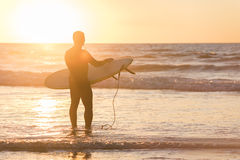 Silhouette of a surfer in front of sun during sunset with surfboard in San Diego, California Royalty Free Stock Images