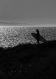 Silhouette of a surfer Royalty Free Stock Images