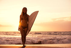 Silhouette surfer girl on the beach at sunset stock image