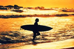 Silhouette of the surfer girl Royalty Free Stock Photography