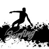 Silhouette of a surfer in grunge style Royalty Free Stock Photos