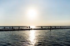 Silhouette surfer. At kuta beach Stock Image