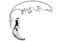 Silhouette of a surfer. man. Royalty Free Stock Image