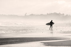 Silhouette of Surfer Near Seashore Stock Image