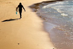 Silhouette of surfer Stock Photography