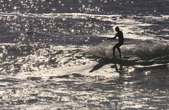 Silhouette surfer Stock Photography