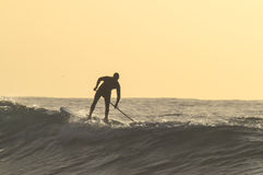 Silhouette Surfer Stock Photo
