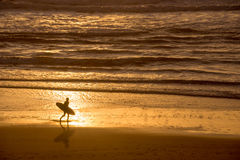 Silhouette of a surfer at sunset on the atlantic ocean, Lacanau France. Silhouette of a surfer at sunset on the atlantic ocean, Lacanau, France Stock Image