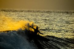 Silhouette Surfer at Sunset. In Tenerife Canary Island Spain Royalty Free Stock Image