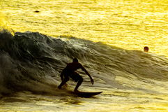 Silhouette Surfer at Sunset. In Tenerife Canary Island Spain Stock Images