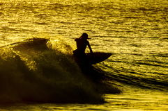 Silhouette Surfer at Sunset. In Tenerife Canary Island Spain Stock Photography