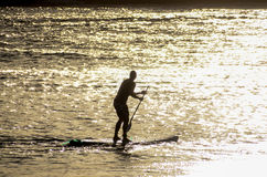 Silhouette Surfer at Sunset. In Tenerife Canary Island Spain Stock Photo