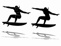 Silhouette of surfer, vector drawing Royalty Free Stock Photography