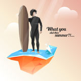 Silhouette of a surfer who keeps board for surfing. Beautiful summer sunset Royalty Free Stock Image
