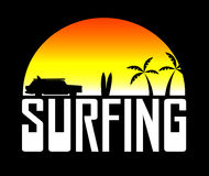 Silhouette of the surfers car Stock Photos