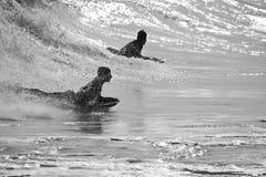 Silhouette surfin' Stock Photo