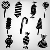 Silhouette sweets. Silhouette kit sugary sweets and candies in a beautiful package Royalty Free Stock Image
