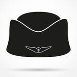 Silhouette symbol Classic Stewardess hat forage- Royalty Free Stock Image