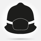 Silhouette symbol of fireman helmet vector. Silhouette symbol of firefighter helmet. Simple vector illustration Isolated on white Royalty Free Stock Image