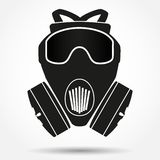 Silhouette symbol of gas mask respirator. Vector Royalty Free Stock Image