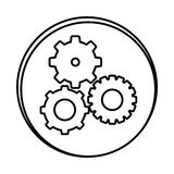 Silhouette symbol gears icon Stock Images