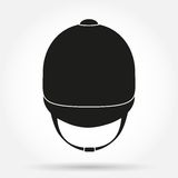 Silhouette symbol of Jockey helmet for horseriding Stock Photography