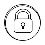 Silhouette symbol lock icon. Illustraction design image Royalty Free Stock Images
