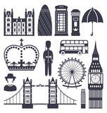 Silhouette Symbols of Great Britain Kingdom Royalty Free Stock Photo