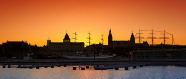 Silhouette of Szczecin (Stettin) City waterfront after sunset. Stock Image