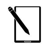 Silhouette tablet pen digital technology Stock Photo