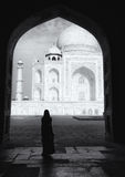 Silhouette on the Taj Mahal Stock Images