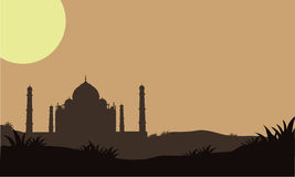 Silhouette of Taj Mahal in the fields Royalty Free Stock Photos