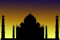 Silhouette of Taj Mahal, India. India, Taj Mahal. Indian palace Tajmahal world landmark. Sunset landscape background Stock Photo