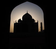 Silhouette of Taj Mahal. 7 wonders of asia in India Stock Image