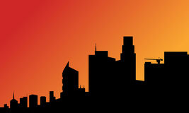 Silhouette of a tall buildings Royalty Free Stock Image
