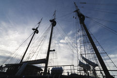 Silhouette of tall ship mast Stock Photos