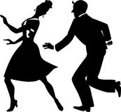 Silhouette of tap dancers Royalty Free Stock Photography