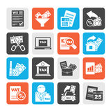 Silhouette Taxes, business and finance icons Stock Photography