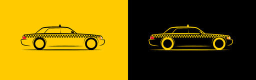 Silhouette taxi side view. Vector illustration Stock Photos