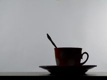 Silhouette of tea cup Stock Photography