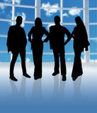 Silhouette Team. Business team in a big office with windows stock illustration
