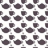 Silhouette of teapot and cup abstract seamless pattern Royalty Free Stock Photography