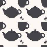 Silhouette of teapot and cup. Tea seamless pattern Stock Photography