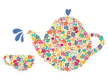Silhouette teapot and cups of floral pattern. Royalty Free Stock Images