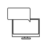 silhouette tech screen computer in wide flat dialogue callout box Royalty Free Stock Photos