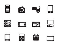 Silhouette technical, media and electronics icons. Vector icon set vector illustration